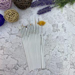 Набор кистей для дизайна ногтей K-15 (белый)