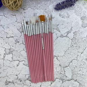 Набор кистей для дизайна ногтей K-15 (розовый)