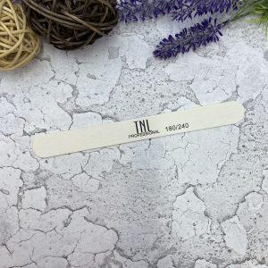 Пилка для ногтей тонкая 180/240 белая (деревянная основа)
