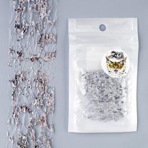 Фольга «Сетка поталь» 4*25 см белый/серебро (1581)