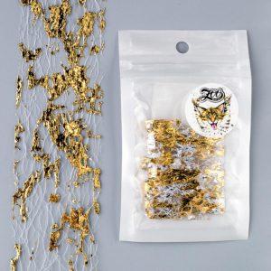 Фольга «Сетка поталь» 4*25 см белый/золото (1582)