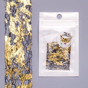 Фольга «Сетка поталь» 4*25 см чёрный/золото(1584)