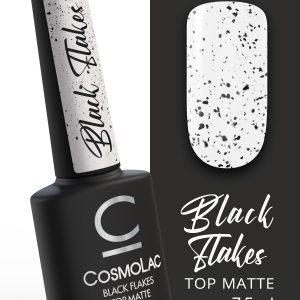 Топ матовый с черными хлопьями без липкого слоя Cosmolac Top Matte Black Flakes (7,5 мл)
